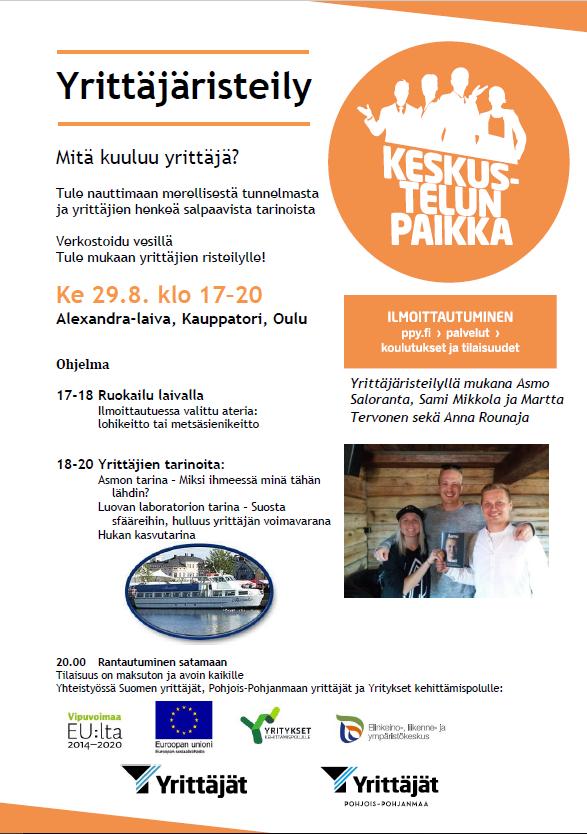 Yrittäjäristeily Oulussa esitteen kuva 29.8.2018
